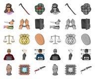 Historieta del crimen y del castigo, mono iconos en la colección determinada para el diseño Ejemplo criminal del web de la acción ilustración del vector