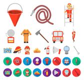 Historieta del cuerpo de bomberos, iconos planos en la colección determinada para el diseño Bomberos y web de la acción del símbo stock de ilustración