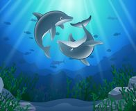 Historieta del delfín con el submarino stock de ilustración