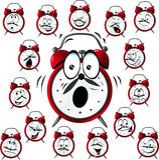 Historieta del despertador con muchas expresiones faciales Fotografía de archivo libre de regalías