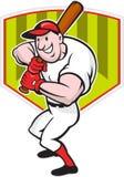 Historieta del diamante del Batting del jugador de béisbol libre illustration