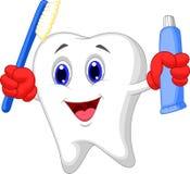 Historieta del diente que sostiene el cepillo de dientes y la crema dental Imagenes de archivo