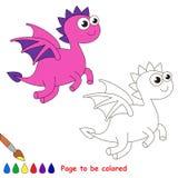 Historieta del dragón Página que se coloreará Imagen de archivo