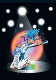 Historieta del dragón que toca la guitarra en concierto Fotografía de archivo libre de regalías