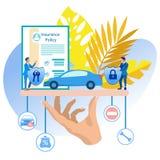 Historieta del ejemplo del vector del seguro del vehículo ilustración del vector