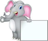 Historieta del elefante con la muestra en blanco Imagenes de archivo