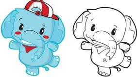 Historieta del elefante linda con un sombrero rojo Fotos de archivo libres de regalías