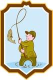 Historieta del escudo de Fish On Reel del pescador de la mosca stock de ilustración