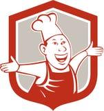 Historieta del escudo de Happy Arms Out del cocinero del cocinero Foto de archivo