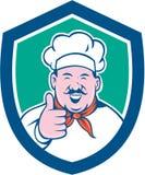 Historieta del escudo de Happy Thumbs Up del cocinero del cocinero Fotografía de archivo libre de regalías