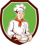 Historieta del escudo de Holding Spoon Bowl del cocinero del cocinero libre illustration