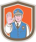 Historieta del escudo de la muestra de la parada de la mano del policía de tráfico Fotos de archivo libres de regalías