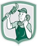 Historieta del escudo de Monkey Wrench Telephone del fontanero Fotografía de archivo libre de regalías