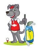 Historieta del golfista del perro ilustración del vector