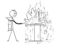 Historieta del hombre de negocios Fighting el fuego en el escritorio de oficina usando el extintor stock de ilustración