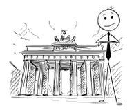 Historieta del hombre de negocios Standing delante de la puerta de Brandeburgo, Berlín, Alemania Imagenes de archivo