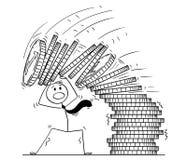 Historieta del hombre de negocios Under Falling Pile de monedas ilustración del vector