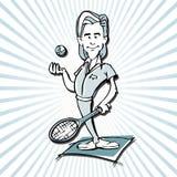 Historieta del hombre del jugador de tenis Imágenes de archivo libres de regalías