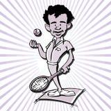Historieta del hombre del jugador de tenis Foto de archivo