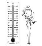 Historieta del hombre enfriado que mira el termómetro de Fahrenheit grande que muestra baja temperatura libre illustration