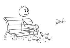 Historieta del hombre o del hombre de negocios Relaxing en banco de parque y pájaros de alimentación stock de ilustración