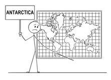 Historieta del hombre que lleva a cabo una muestra y que señala en el lugar debajo del mapa del mundo de la pared donde el contin