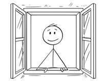 Historieta del hombre que mira a través de ventana abierta stock de ilustración