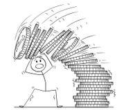 Historieta del hombre u hombre de negocios Under Falling Pile de monedas libre illustration