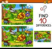 Historieta del juego de las diferencias del hallazgo Foto de archivo libre de regalías
