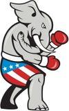 Historieta del lado del boxeo del boxeador de la mascota del elefante Stock de ilustración