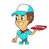 Historieta del muchacho de salida de la pizza Imagen de archivo libre de regalías