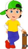 Historieta del muchacho que juega el monopatín stock de ilustración