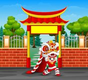 Historieta del niño que juega danza china del dragón stock de ilustración