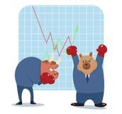 Historieta del oso y del toro lista para luchar en mercado de acción Fotografía de archivo libre de regalías