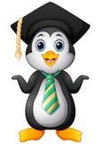 Historieta del pingüino con el casquillo de la graduación y el lazo rayado stock de ilustración