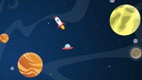 Historieta del planeta en la animación del espacio libre illustration