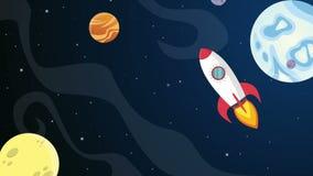 Historieta del planeta en la animación del espacio stock de ilustración