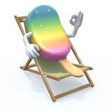 Historieta del polo de hielo que descansa en silla de playa Imágenes de archivo libres de regalías