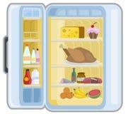 Historieta del refrigerador de la comida ilustración del vector