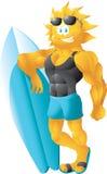 Historieta del sol de la persona que practica surf Imagenes de archivo