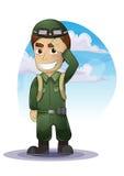 Historieta del soldado con capas separadas stock de ilustración