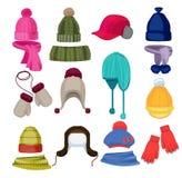 Historieta del sombrero del invierno La bufanda del casquillo del Headwear y la otra ropa de los complementos en ejemplos planos  libre illustration