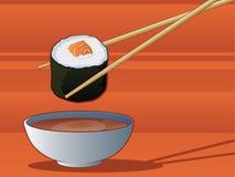 Historieta del sushi de los palillos Fotografía de archivo