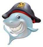 Historieta del tiburón del pirata stock de ilustración