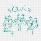 Historieta del vector del búho del garabato con el fondo del papel, ejemplo para los niños libre illustration