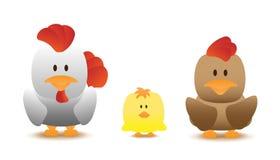 Historieta del vector de la familia del pollo Fotos de archivo libres de regalías