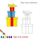 Historieta del vector de los regalos de Navidad que se coloreará Fotografía de archivo libre de regalías