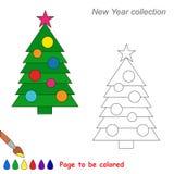 Historieta del vector del árbol del Año Nuevo que se coloreará Imagen de archivo libre de regalías