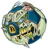 Historieta del vector del balón de fútbol del zombi Foto de archivo