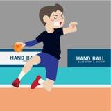 Historieta del vector del deporte atlético del balonmano Imágenes de archivo libres de regalías